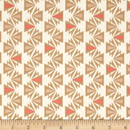 Kaufman Fragmental Aztec Stripe Salmon Fabric By The Yard