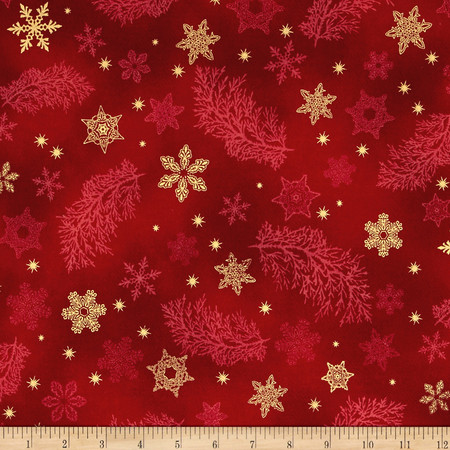 Kaufman Holiday Flourish Metallics Snowflake & Sprigs Holiday Fabric By The Yard