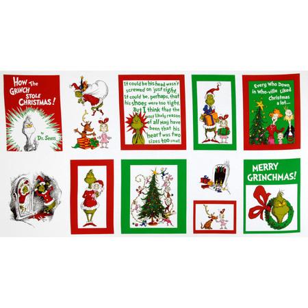 Kaufman How The Grinch Stole Christmas Merry Grinchmas Quilt Panel Multi Fabric