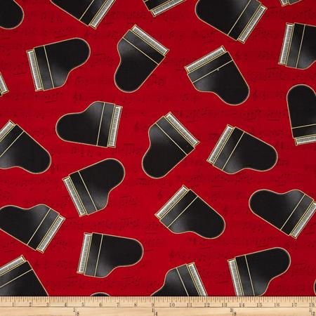 Kaufman In Tune Metallic Baby Grand Piano Red Fabric