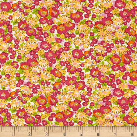 Kaufman London Calling Lawn Floral Sorbet Fabric By The Yard