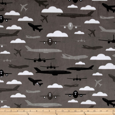 Kaufman Minky Cuddle Boys Toys Aviator Charcoal Fabric By The Yard