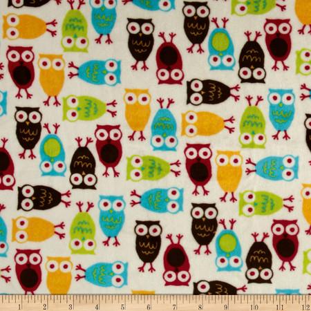 Kaufman Minky Cuddle Night Owl Red/Mango Fabric