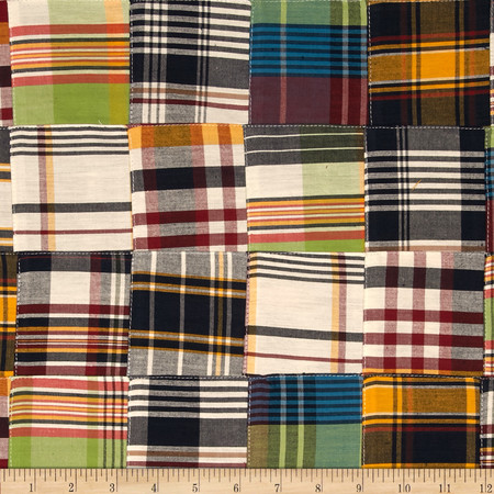 Kaufman Nantucket Patchwork Plaid Americana Fabric By The Yard