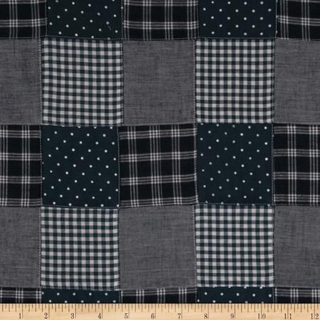 Kaufman Nantucket Patchwork Plaid Blue Fabric