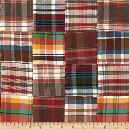 Kaufman Nantucket Patchwork Plaid Redwood Fabric By The Yard