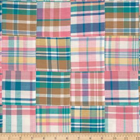 Kaufman Nantucket Patchwork Plaid Sorbet Fabric By The Yard