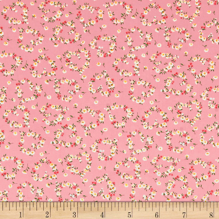 Kaufman Sevenberry Petite Fleurs Flower Circle Pink Fabric By The Yard