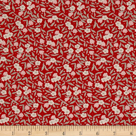 Kaufman Sevenberry Petite Fleurs Flower Stems Red Fabric By The Yard