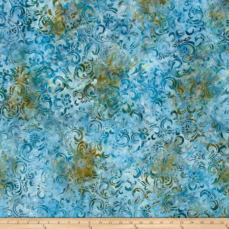 Kaufman Sorrento Batik Leaf Trellis Rain Fabric
