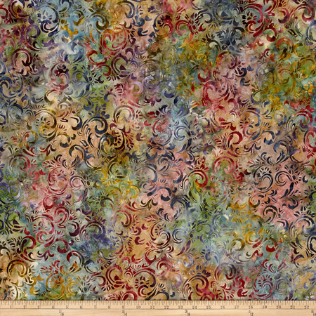 Kaufman Sorrento Batik Leaf Trellis Spice Fabric