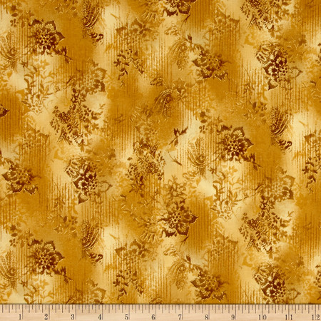 Kaufman Trieste Metallic Hint of Stripe Gold Fabric
