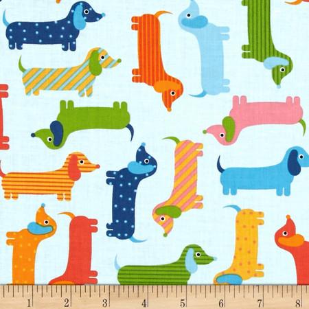 Kaufman Urban Zoology Weenie Dogs Spring Fabric