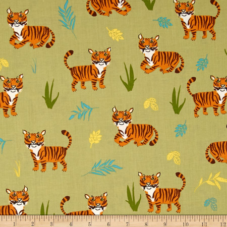 Kaufman Wild Adventure Tigers Nature Fabric By The Yard