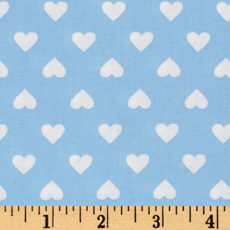 Kaurman Sevenberry Classiques Med Hearts Blue Fabric By The Yard