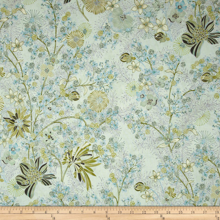 Kaya Metallic Medium Ornate Floral Aqua/Silver Fabric