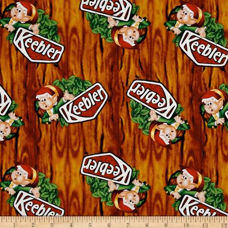 Kelloggs Keebler Elf in Tree Brown Fabric By The Yard