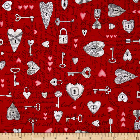 Key to My Heart Spaced Keys & Hearts W/ Writing Red Fabric By The Yard