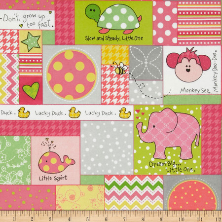 Kimberbell Little One Flannel Too! Allover Patch Pink Fabric By The Yard