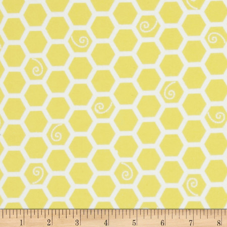 Kimberbell Little One Flannel Too! Honeycomb Sunny Yellow Fabric By The Yard