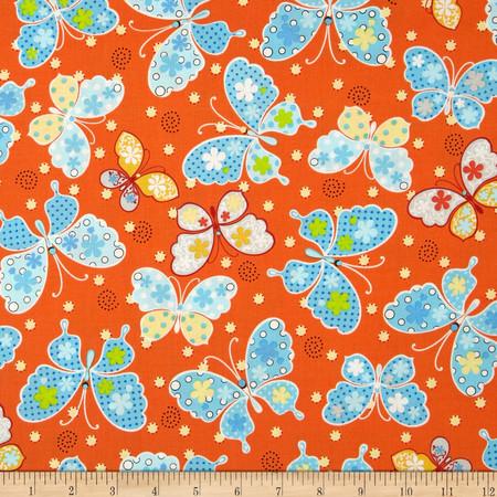 Kimmy's Sonata Butterflies Orange Fabric