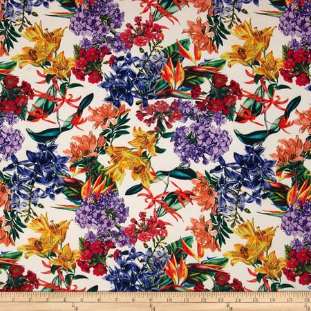 Kimono Floral Stretch ITY Knit Ivory/Purple Fabric