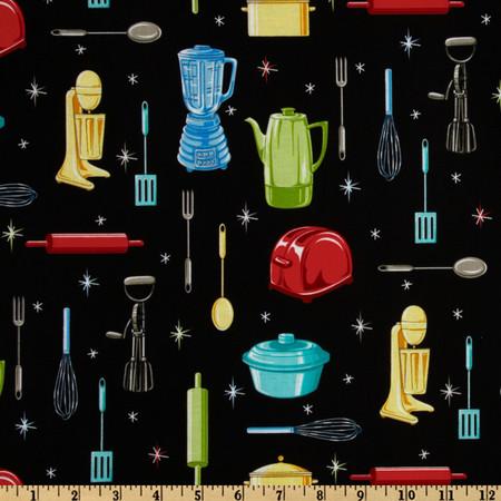Kitchen Utensils Black Fabric By The Yard
