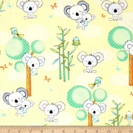 Koala Party Koalas Yellow Fabric By The Yard