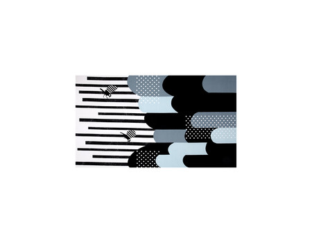 Kokka Echino Huedrawer Sateen Metallic Border Black Fabric By The Yard