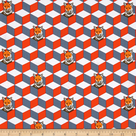 Kokka Echino Huedrawer Sateen Metallic Fox Box Orange Fabric By The Yard