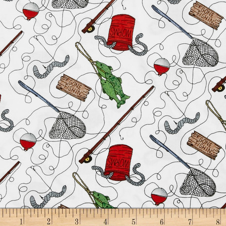 Kountry Kiddos Fishing Stuff White Fabric By The Yard