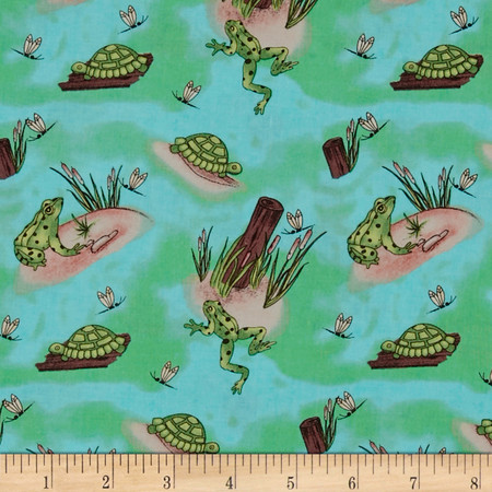 Kountry Kiddos Frogs Green Fabric By The Yard