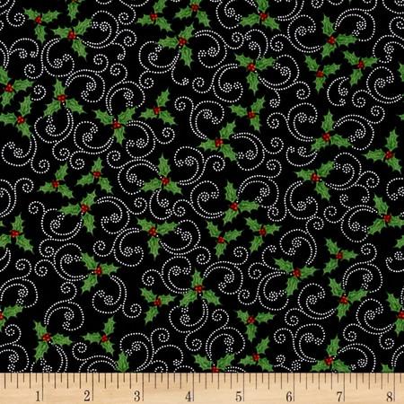 Kringle Krossing Holly Black Fabric