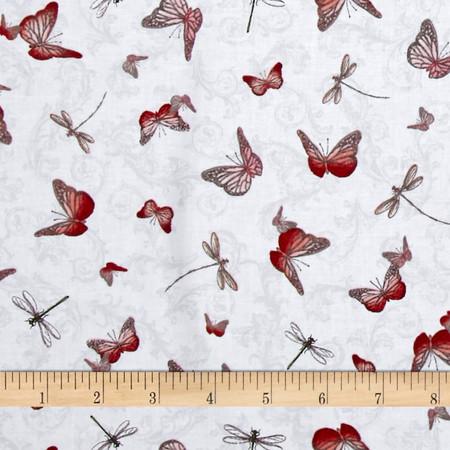 La Vie En Rose Butterflies & Dragonflies Gray Fabric By The Yard