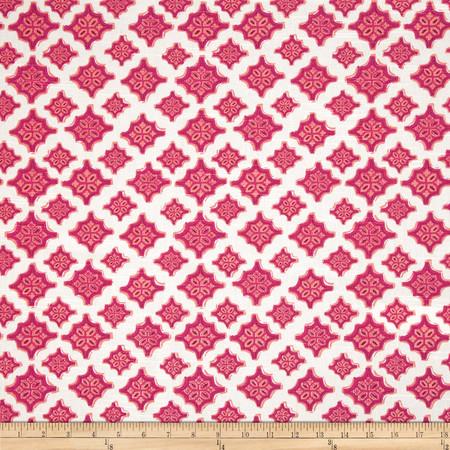 Lacefield Trevi Medallions Slub Mulberry Fabric