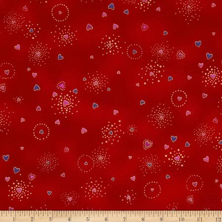 Laurel Burch Basics Hearts Red Metallic Fabric