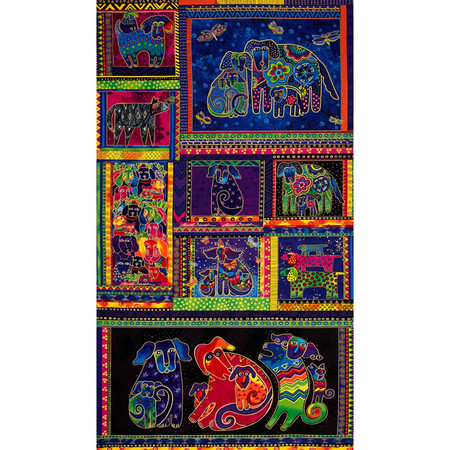 Laurel Burch Dogs & Doggies Panel Multi Fabric