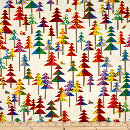 Laurel Burch Enchantment Metallic Christmas Trees Cream Fabric By The Yard
