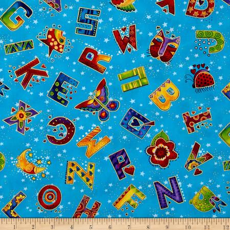 Laurel Burch Laurel Land Metallic Tossed Letters Dark Aqua Fabric By The Yard