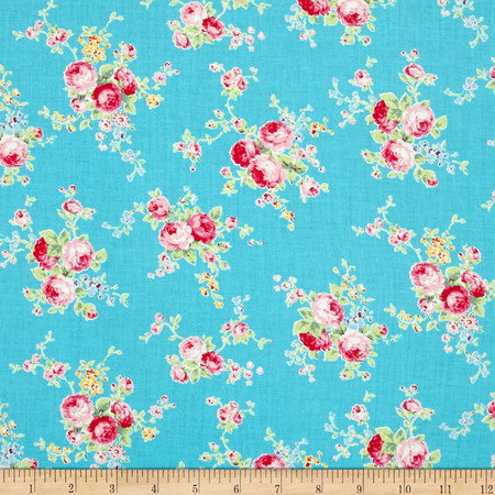 Lecien Flower Sugar Floral Trail Turquoise Fabric