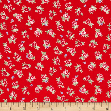 Lecien Flower Sugar Small Rose Toss Red Fabric