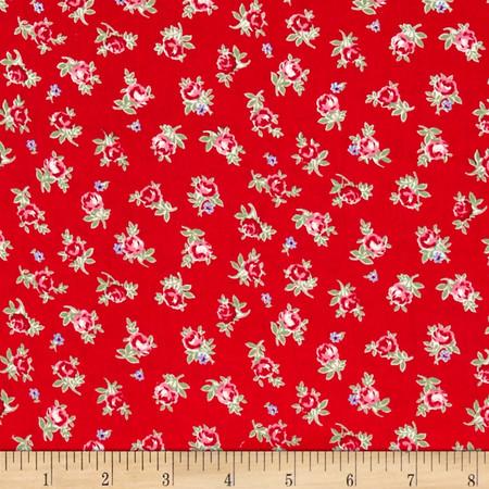 Lecien Flower Sugar Small Rose Toss Red Fabric