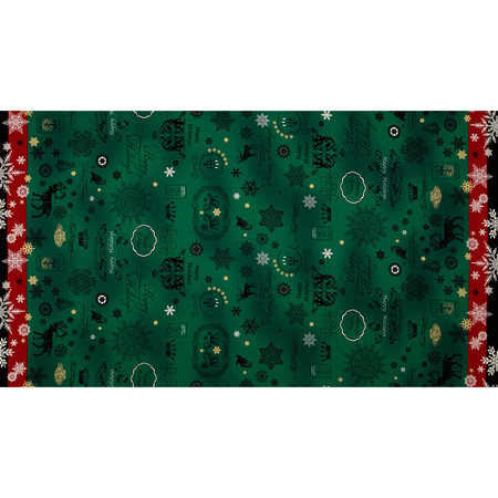 Lecien Happy Holidays Double Border Green Fabric By The Yard