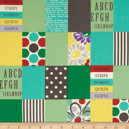Lecien Spicy Scrap Strip Dot Patch Green Fabric