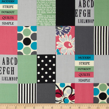 Lecien Spicy Scrap Strip Dot Patch Grey Fabric
