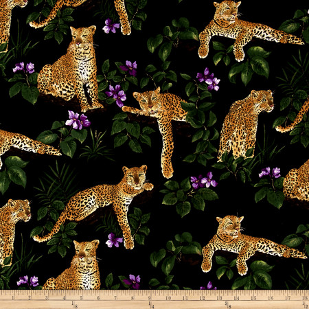 Leopard African Violets and Leopards Multi Fabric By The Yard