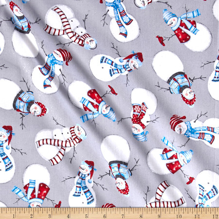 Let It Snow Glitter Tossed Snowman Gray Fabric By The Yard