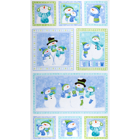Let it Snow Flannel 24 In. Snowman Blocks Panel Multi Fabric