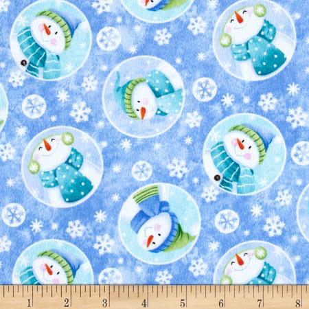 Let it Snow Flannel Snowman Allover Blue Fabric