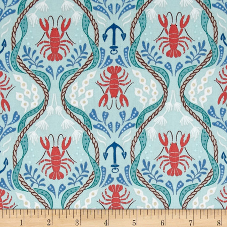 Lewis & Irene Harbour Side Lobster Teal Fabric By The Yard